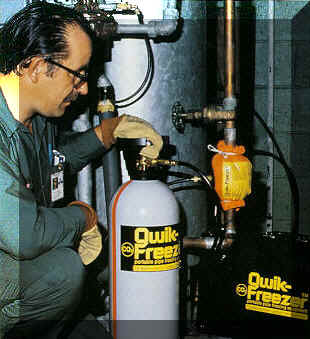 Qwik Freezer Pipe freezing kits using Liquid CO2, are used